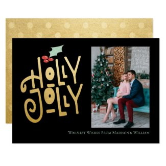 Modern Personalized Christmas Holly Jolly Invitation