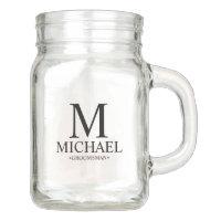 Modern Personalized Groomsman Mason Jar