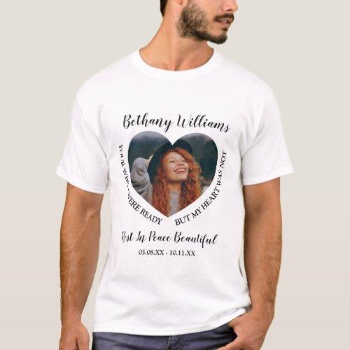 Modern Personalized Heart Photo Memorial T_Shirt