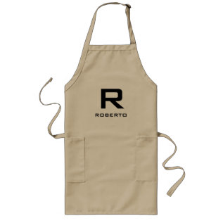 Modern Personalized Khaki Beige Bbq Apron For Men at Zazzle