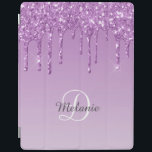 """Modern Personalized Light Purple Sparkle Glitter iPad Smart Cover<br><div class=""""desc"""">Modern light purple color,  with a sparkle faux glitter drip effect. Personalize with your name and monogram. Design© Rosalind Moore,  Cherry Lane Designs.</div>"""