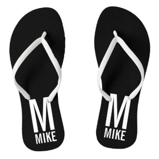 Modern Personalized Monogram and Name Flip Flops