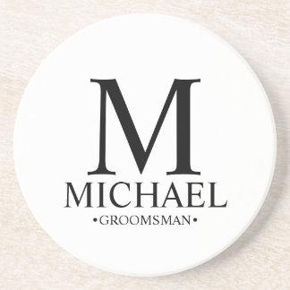 Modern Personalized Monogram and Name Groomsman Coaster