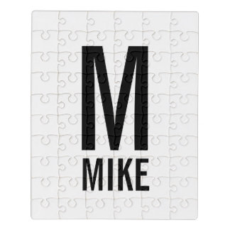 Modern Personalized Monogram and Name Jigsaw Puzzle