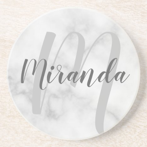 Modern Personalized Monogram and Name White Marble Coaster