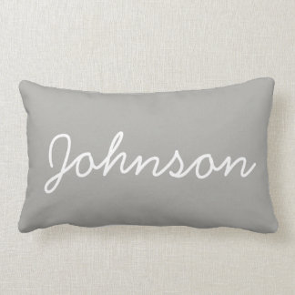 Modern Personalized Monogram Grey Throw Pillow