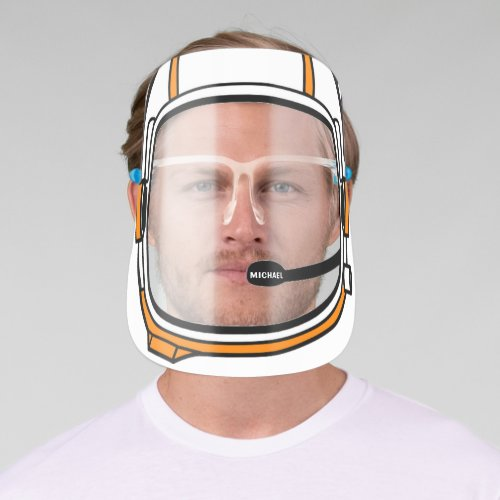 Modern Personalized Name Astronaut Space Helmet Face Shield