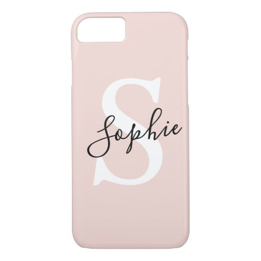 Modern Personalized Name Monogram Pastel Pink iPhone 8/7 Case