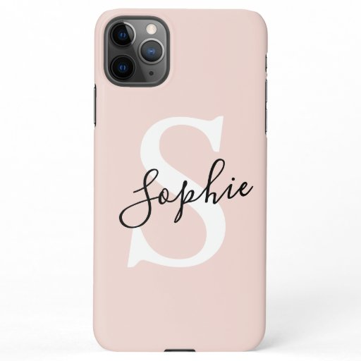 Modern Personalized Name Monogram Pastel Pink iPhone 11Pro Max Case