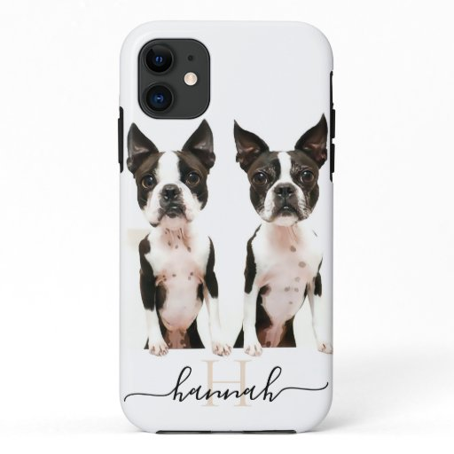 Modern Personalized Photo and Monogram and Text iPhone 11 Case