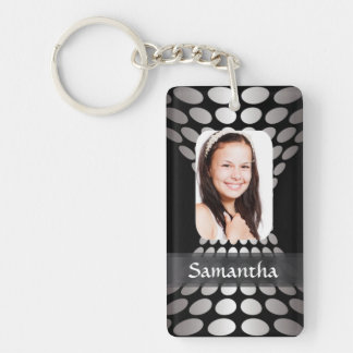Modern personalized photo template Double-Sided rectangular acrylic keychain