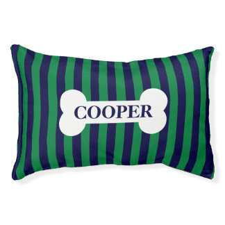 Modern Personalized Striped Dog Bed - Navy/Green