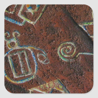 MODERN PETROGLYPHS SQUARE STICKER
