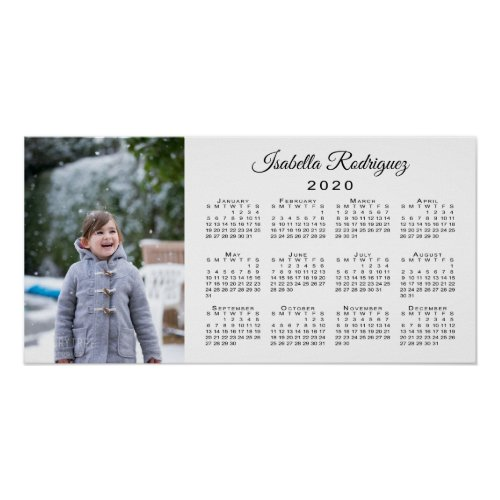 Modern Photo and Name Personalized 2020 Calendar Poster