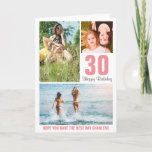 "Modern Photo Birthday Card Any Age | Custom Color<br><div class=""desc"">Modern Happy Birthday card featuring a photo collage of 3 pictures,  their age and name. All colors and text can be personalized.</div>"
