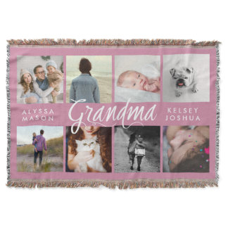 Modern Photo Blanket for Grandma | Pink and White