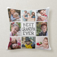 Modern Photo Collage  |  Best Grandpa Ever Throw Pillow