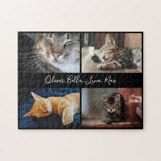 Modern Photo Collage Custom Script Name on Black Jigsaw Puzzle