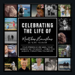 """Modern Photo Collage Funeral Sympathy Poster<br><div class=""""desc"""">A very special but modern funeral,  wake or memorial service poster to display as a tribute. Featuring 16 square photographs of your loved ones life,  and a simple t template that can easily be personalized on a black background that can be changed to any color.</div>"""