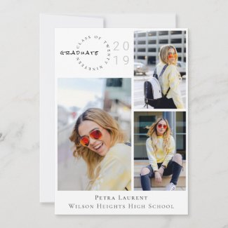 Modern Photo Collage Graduation Announcement