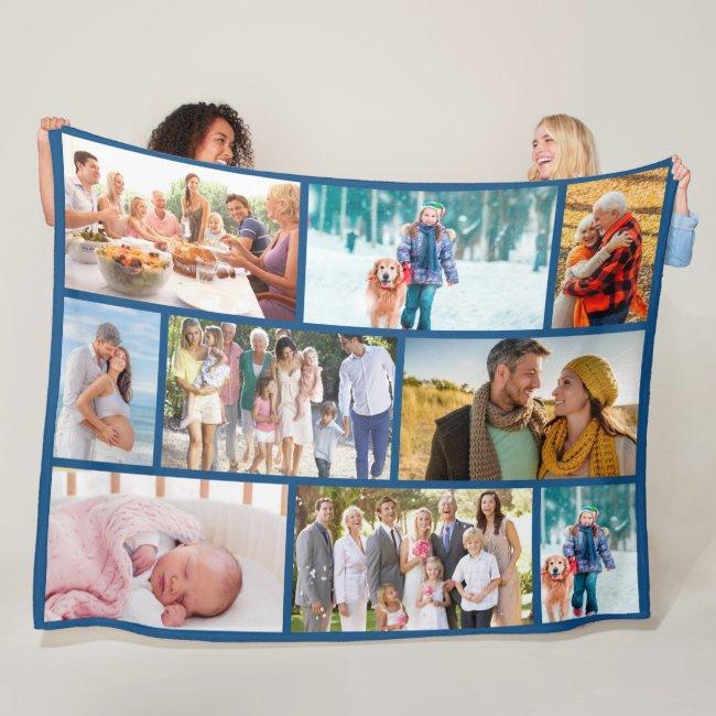 Modern Photo Collage Masonry Style Blue Fleece Blanket