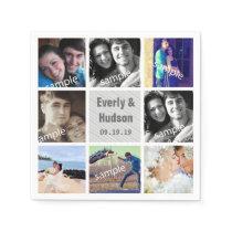 Modern Photo Collage Wedding Napkins