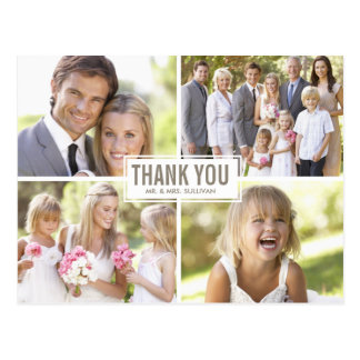 Modern Photo Collage Wedding Thank You Postcard