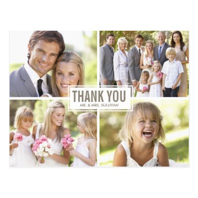 Three Photo Collage Wedding Thank You Postcard | Zazzle.com