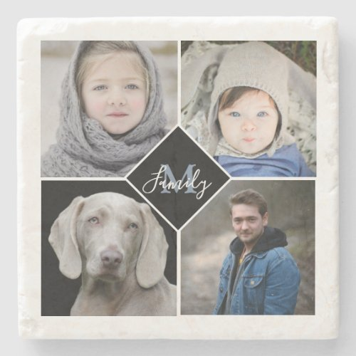 Modern Photo Collage With Family Monogram Stone Coaster