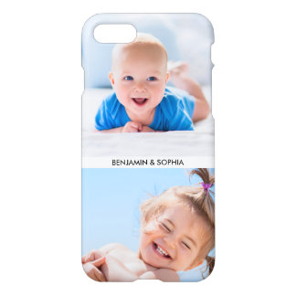 Modern Photo Collage Your 2 Photos and Custom Text iPhone 7 Case