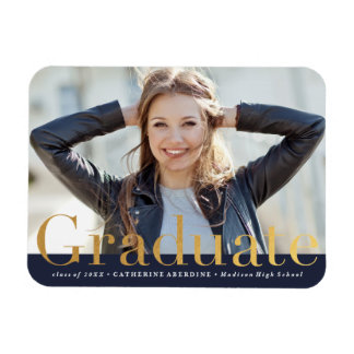 Modern photo graduation faux foil magnet
