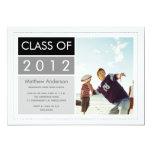 "Modern Photo Graduation Invitation - Black 5"" X 7"" Invitation Card"
