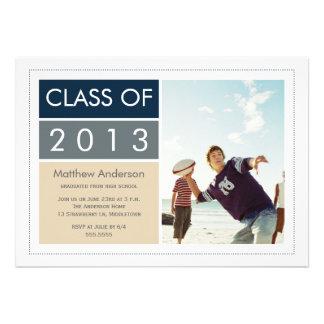 Modern Photo Graduation Invitation - Blue/Tan