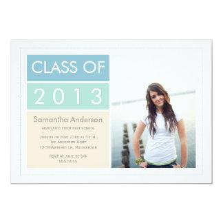 Modern Photo Graduation Invitation - Mint/Blue