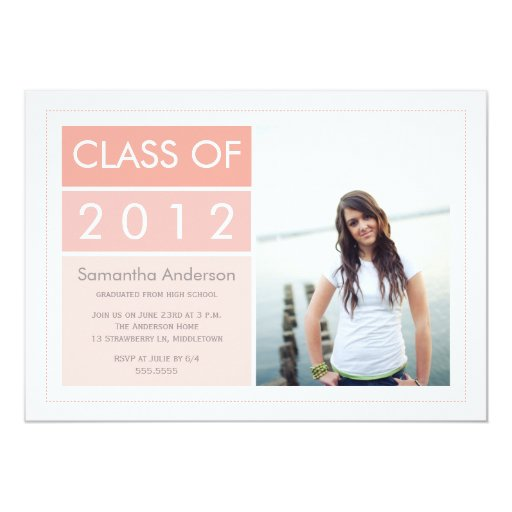 "Modern Photo Graduation Invitation - Pink 5"" X 7"" Invitation Card"