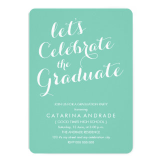 Modern Photo Graduation Party Aqua White Card
