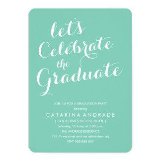 Modern Photo Graduation Party Aqua White 5x7 Paper Invitation Card