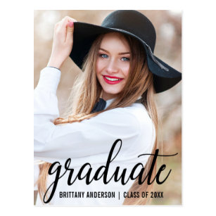 Graduation invitation postcards zazzle modern photo graduation party invitation b postcard filmwisefo