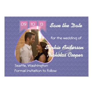 "Modern Photo Heart Save the Date 5"" X 7"" Invitation Card"