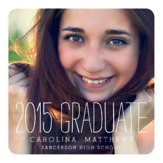 Modern Photo High School Graduation Party 5.25x5.25 Square Paper Invitation Card