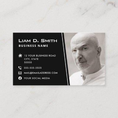 Modern photo logo social media icons black business card