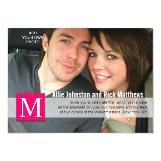 Modern Photo Monogram Wedding Invitations Pink