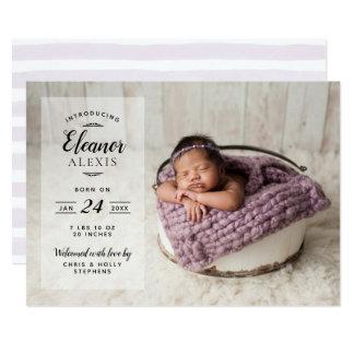 Modern Photo Overlay Baby Girl Birth Announcement