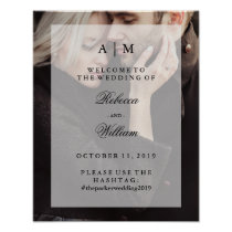 Modern Photo Overlay | Wedding Welcome and Hashtag Poster