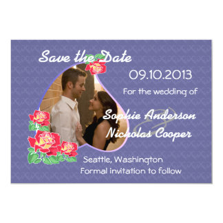 "Modern Photo Rose Heart Save the Date 5"" X 7"" Invitation Card"