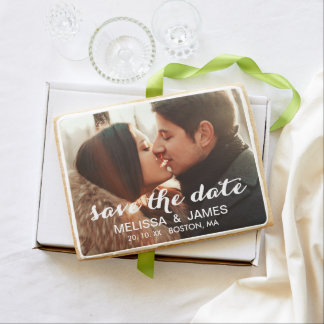Modern Photo Save the Date Announcement Jumbo Cookie