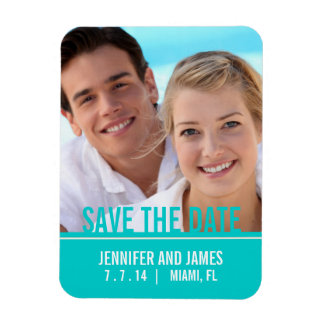 MODERN PHOTO SAVE THE DATE MAGNET | TEAL AQUA