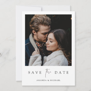 Black and White Editable W002 Minimalist Save the Date Template Save the Date with Photo Modern Save the Date Cards Instant Download