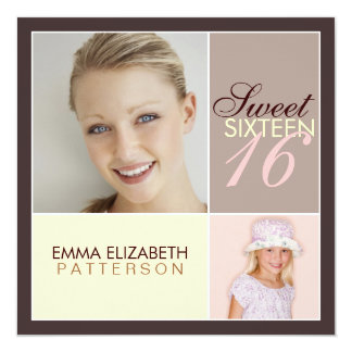 Modern Photo Square Sweet Sixteen Birthday Party Card