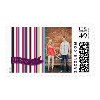 Modern Photo Thank You Stripes Postage Stamp